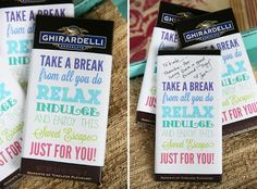 FREE printable Chocolate Bar Wrappers - wonderful DIY gift idea for friends ^^ (teacher candy gifts staff appreciation) Volunteer Appreciation, Teacher Appreciation Week, Choclate Bar, Craft Gifts, Diy Gifts, Food Gifts, Chocolate San Valentin, Chocolates, Chocolate Bar Wrappers