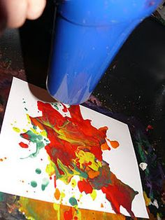 Blow Dryer Art. Drip paint... blow dry to make it move around and mix!    #painting #play #kids #kidcrafts