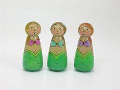 Three little Mermaids- wooden peg dolls, mermaid toy, waldorf inspired, handmade kids toy