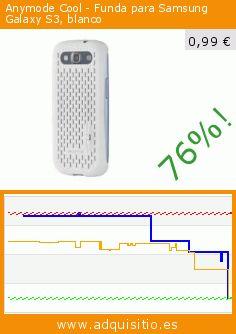 Anymode Cool - Funda para Samsung Galaxy S3, blanco (Accesorio). Baja 76%! Precio actual 0,99 €, el precio anterior fue de 4,16 €. https://www.adquisitio.es/anymode/anhd096kwh-funda-m%C3%B3vil