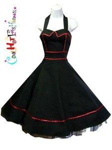 Black Halter Dress Swing 50's pinup Vintage Jive Rockabilly Punk Tulle 6851