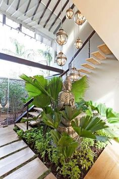 Image result for inside garden with stairs