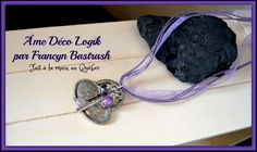 Collier ''clé du cœur'' ton argent, organza lavande, ficelle de coton, perle et cristal mauve, pendentif cadenas et clé, cadeau anniversaire