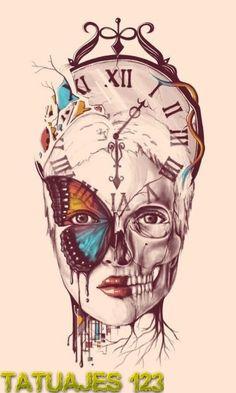 Diseño de tatuaje sobre el paso del tiempo