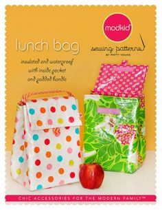 Lunch Bag Sewing Pattern - for school next year Sewing Patterns For Kids, Bag Patterns To Sew, Sewing For Kids, Sewing Ideas, Sac Lunch, Lunch Bags, Snack Bags, Bag Sewing, Little Lunch