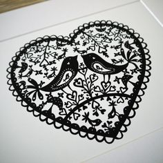 Love Birds  PRINT 17cm x 19.5cm by FolkArtPapercuts on Etsy