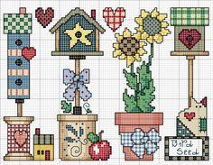 #birdhouse #cross-stitch #cat #sunflower #heart #spool #flowerpot #butter churn #bow #house