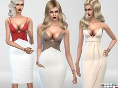 Two bodycon dresses/2 distinct styles/available in 12 colors.  Found in TSR Category 'Sims 4 Female Formal'