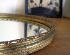 Vintage Mirror Tray Gold Filigree Oval by SharetheLoveVintage