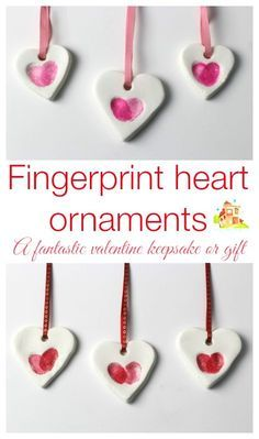 adorably simple fingerprint heart ornaments made using baking soda clay. They are really easy and inexpensive to make and make great keepsakes or gifts. We are using our as part of our valentines cards. How to make your own fingerprint heart ornaments bak Valentines Bricolage, Kinder Valentines, Valentine Crafts For Kids, Valentines Diy, Holiday Crafts, Printable Valentine, Valentine Wreath, Spring Crafts, Kids Crafts