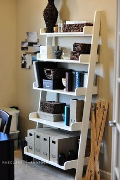 "Ana White | Build a Leaning Wall Shelf | Free and Easy DIY Project and Furniture Plans I really love the leaning ladder bookshelves, but they are so expensive in stores and made so cheaply! I also need the bottom shelf to be 9"" off the ground to clear our baseboard heat registers. Thinking about trying to make these myself!"