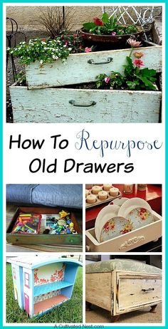 How to Repurpose Old Drawers - instead of throwing something away you can make something useful out of it! Check out these amazingly creative ideas for using old dresser drawers in a new way! DIY projects, upcycle, repurpose, dresser drawers, DIY Home Decor #diy #diyhomedecor #upcycled #furnituremakeovers