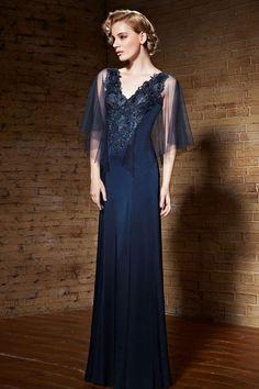 Elegant Navy Blue Grecian V Neck Formal Prom Graduation Evening Dress  c508ba720