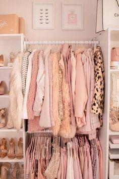 Pink Walk in Closet Beauty Room Reveal Room Ideas Bedroom, Dream Bedroom, Bedroom Decor, My New Room, My Room, Cube Storage Shelves, Glam Room, Pink Room, Dream Closets