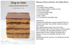 Reeses Peanut Butter No-Bake Bars For more great recipes and ideas visit At Home with Terri at www.facebook.com/AtHomewithTerri