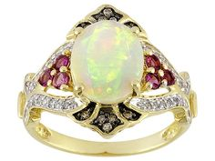 Ethiopian Opal 1.51ct With .24ctw Pink Tourmaline And .15ctw Diamond 1