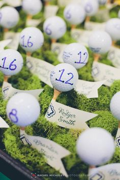 Golf ball and tee escort cards are perfect for a golf resort wedding.
