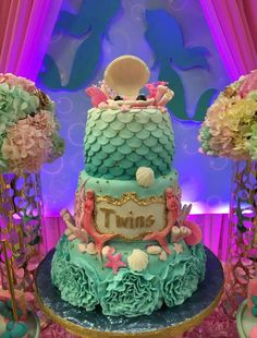 Wow! What an amazing cake at a mermaid baby shower party! See more party planning ideas at CatchMyParty.com!