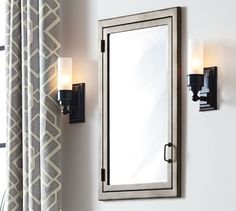 "Rustic Metal Recessed Medicine Cabinet | Pottery Barn; 21""x34""; $449. Rustic metal to match antique nickel in sconces"