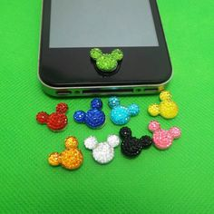30%OFF 9 Colors Bling Crystal Minnie Mickey Disney DIY Home Button Sticker for Apple Charm iPhone 3,4,4s,5,ipad 2,3,4,iPod Touch 2,3,4,5