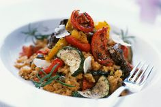 Grilled Veggie-Barley Risotto