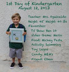 1st Day of Kindergarten Photo