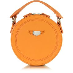 Carven Orange Leather Round Clutch ($385) ❤ liked on Polyvore featuring bags, handbags, clutches, orange clutches, orange leather handbag, genuine leather purse, orange handbags and real leather purses