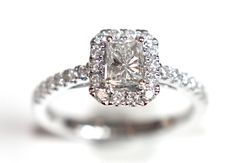 Radiant Diamond Halo Engagement Ring 1.02ct - Campbell Jewellers - 1