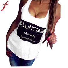 Feitong 2015 Women Tank Solid Color Sleeveless Letter Print Sexy backless top Casual t shirt Women Vest tops femme Plus size XL
