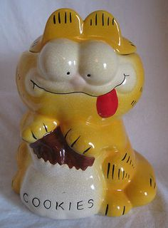 "RARE Vintage McCoy Ceramic Art Pottery Garfield Cookie Jar with Lid 8 25"" Tall 