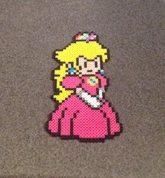 Princess Peach - Paper Mario Perler Bead Sprite - Pixel Video Game Fan Art…