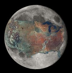The moon with a map of the US overlaid on it.