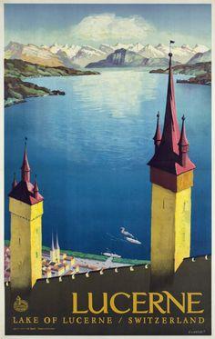 Vintage Travel Poster - Lucerne - Lake of Lucerne - Switzerland.