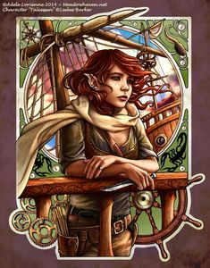 Taliessen by Saimain female elf half-elf pirate girl armor clothes clothing fashion player character npc | Create your own roleplaying game material w/ RPG Bard: www.rpgbard.com | Writing inspiration for Dungeons and Dragons DND D&D Pathfinder PFRPG Warhammer 40k Star Wars Shadowrun Call of Cthulhu Lord of the Rings LoTR + d20 fantasy science fiction scifi horror design | Not Trusty Sword art: click artwork for source