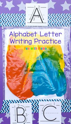 Have your toddler or preschooler practice alphabet letter formation using these alphabet letter formation cards.  3, 4 and 5 year olds will love this educational mess free paint activity! via @funwithmama