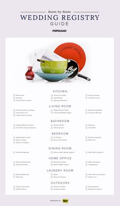 Check all of your essential items off your wedding registry list with this room-by-room guide!