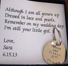 Cute idea give this to your dad at the wedding reception or have it sitting in his seat for when he comes to sit before you walk down the isle
