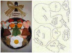 ARTE COM QUIANE - Paps,Moldes,E.V.A,Feltro,Costuras,Fofuchas 3D: Mimos para sua cozinha: Galinha na frigideira