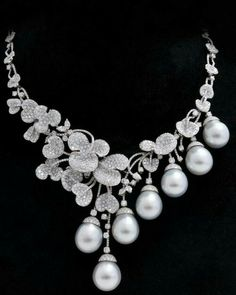 Diamond and Pearl Necklace ~