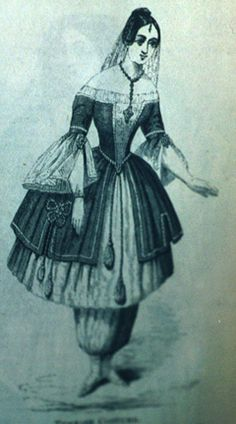 """Several magazines of the mid-nineteenth century provided illustrations and even patterns for various styles of the """"Bloomer Costume."""" However, few of the illustrations reflected what dress reformers actually wore. For instance, the image above shows a woman with an extremely small waist size that could only be achieved by wearing a corset-- an undergarment that dress reformers sought to eliminate from their wardrobes. Similarly, the woman's skirt seems so full that multiple petticoats must…"""