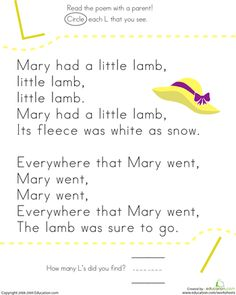Worksheets: Find the Letter L: Mary Had a Little Lamb..Love this!!!!