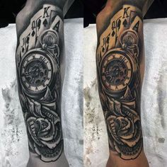Tatto Ideas 2017  Money Rose With Playing Cards And Pocket Watch Tattoo For Guys Sleeve Design #tattoosforguys