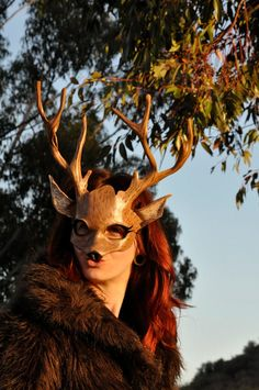 Leather Deer Mask, Costume for Masquerade, Halloween, Festival by Hawk & Deer available on Etsy