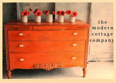 The Modern Cottage Company. Orange dresser painted in Annie Sloan Chalk Paint Barcelona Orange, Anthropologie knobs, MMS white wax. Annie Sloan Painted Furniture, Annie Sloan Paints, Chalk Paint Furniture, Furniture Projects, Furniture Makeover, Furniture Refinishing, Annie Sloan Chalk Paint Barcelona Orange, Red Chalk Paint, Chalk Painting