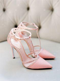 Chic + sparkly pink wedding shoes: http://www.stylemepretty.com/2015/12/15/summer-blush-peach-wedding-in-portugal/ | Photography: Brancoprata - http://www.brancoprata.com/