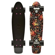 Penny Skateboard Floral ❤ liked on Polyvore featuring penny boards, skate boards, skateboards and filler