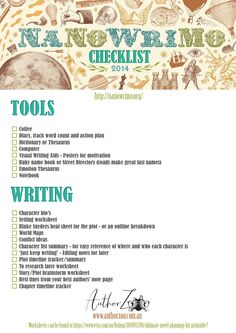 Free #NaNoWriMo Checklist —because November is fast approaching!