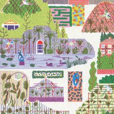 Hannah Waldron Botanical Card by Little Otsu Garden Illustration, Digital Illustration, Landscape Drawings, Birdhouse, Pattern Art, Art For Sale, Illustrators, Screen Printing, Cool Art
