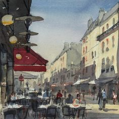 Lazy Sunday on Rue Cler one of my favourite streets in Paris. This was painted from the terrace of Café Central. #watercolour #sketch #Paris #ruecler #urbansketchers #watercolour_gallery #watercolor #painting