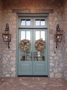 Bevolo gas lights on beautiful stone house Love the doors too Painted Doors, Country Front Door, House Front, Painted Front Doors, Exterior Lighting, House Exterior, Entry Doors, Exterior Doors, Stone House